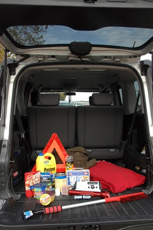 An emergency roadside kit is also good to keep in your car on long trips.