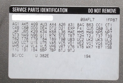 GM RPO Code List