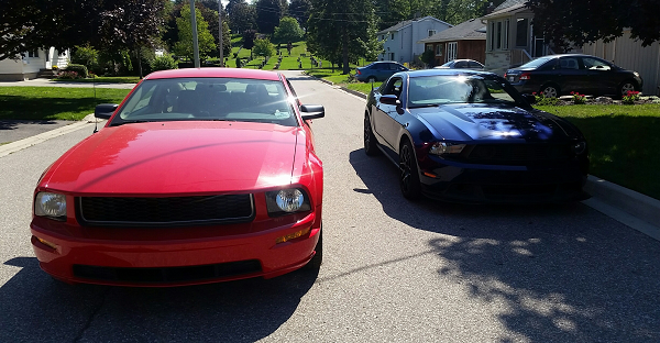 Red and Blue are two prototype Ford Mustangs saved by HoonDog Performance Group.