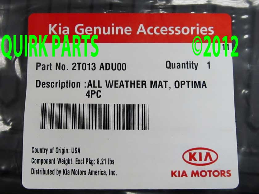 2011-2013 Kia Optima Front and Rear Premium All Weather Floor Mats Genuine OEM