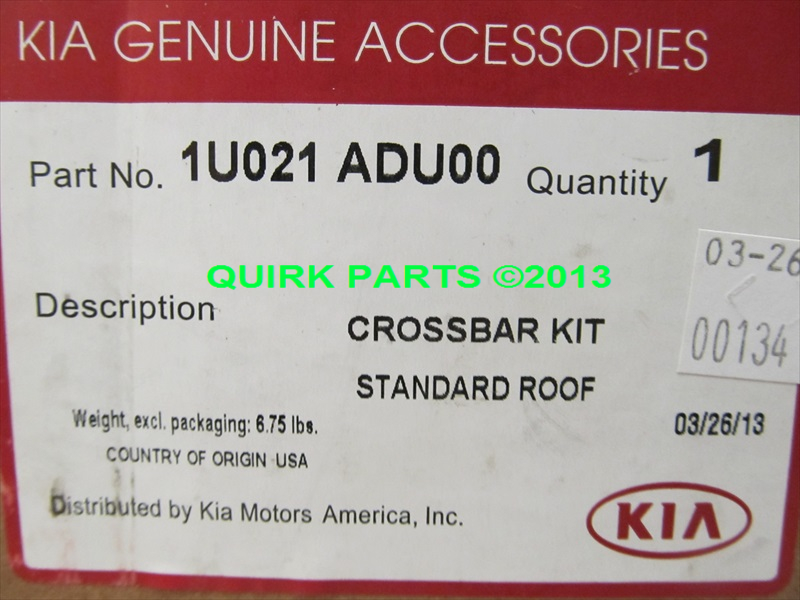 2013-2014 Kia Sorento Roof Rack Cross Bars OEM BRAND NEW Genuine 1U021-ADU00