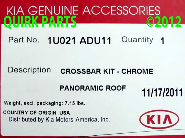 2011-2013 Kia Sorento SX Chrome Roof Rack Cross Bars Set OEM NEW 1U021-ADU11