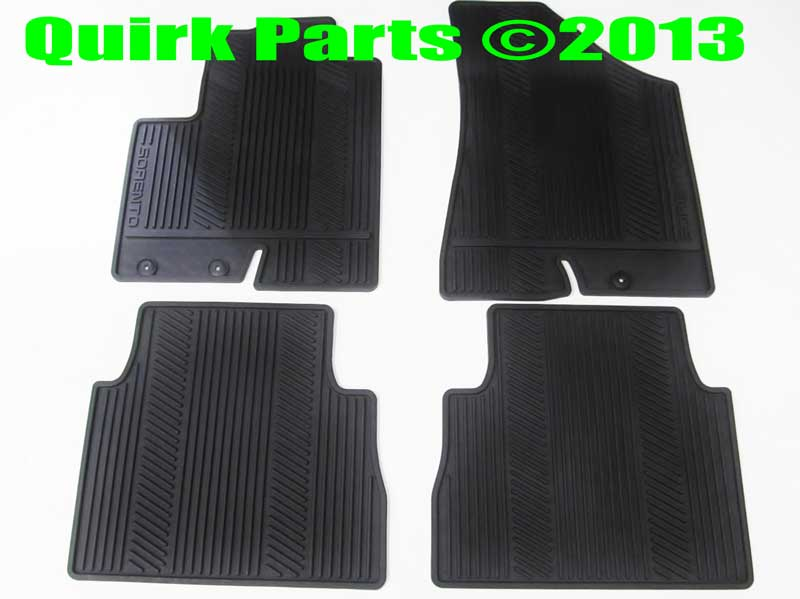 2012-2013 Kia Sorento Front and Rear All Weather Floor Mats Black OEM NEW