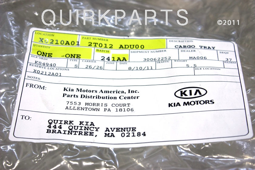 2011-2012 Kia Optima Rubber Cargo Mat Tray GENUINE OEM BRAND NEW