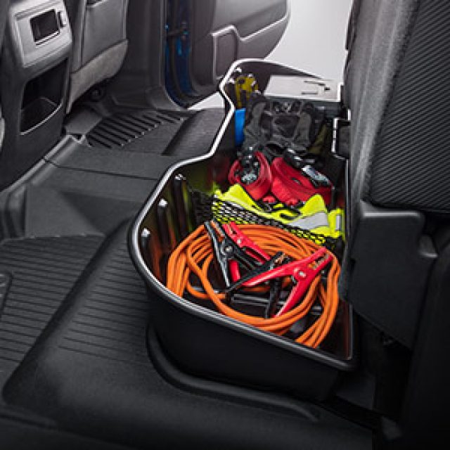 Crew Cab Underseat Storage Compartment in Black