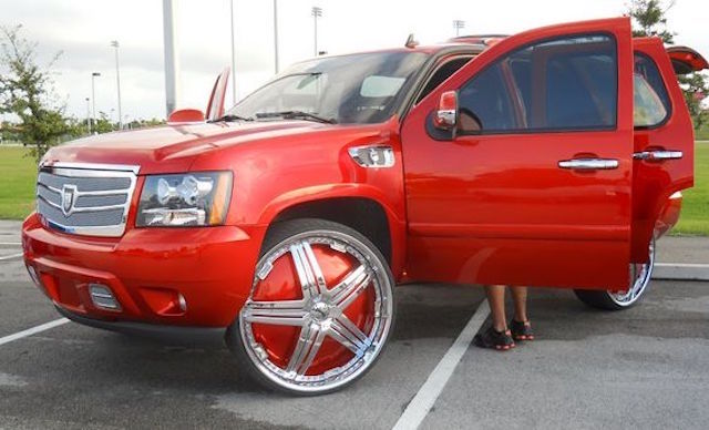 Cherry red tahoe rims