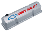Metallic Gray Die-Cast Aluminum Slant-Edge Valve Covers w/ Recessed Emblems for Chevy small-block