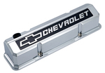 Chrome Die-Cast Aluminum Slant-Edge Valve Covers w/ Raised Emblems for Chevy small-block