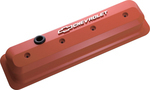 Chevy Orange Aluminum Slant-Edge Valve Covers w/ Raised Emblems
