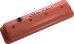 Chevy Orange Aluminum Slant-Edge Valve Covers w/ Raised Emblems