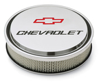 Chevrolet Slant-Edge Aluminum Air Cleaner, Polished, Recessed Emblems
