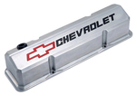 Polished Die-Cast Aluminum Slant-Edge Valve Covers w/ Recessed Emblems for Chevy small-block engines.