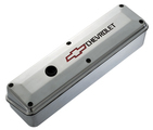 Polished Aluminum 2-Piece Valve Covers for Chevy small-block engines. Recessed Emblem