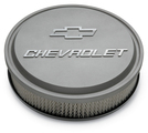 Chevrolet Slant-Edge Aluminum Air Cleaner, Cast Gray Crinkle, Raised Emblems
