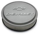 Chevrolet Slant-Edge Aluminum Air Cleaner, Cast Gray Crinkle, Raised Emblems