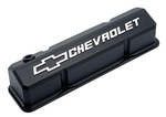 Black Crinkle Die-Cast Aluminum Slant-Edge Valve Covers w/ Raised Emblems for Chevy small-block engines