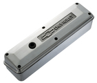 Polished Aluminum 2-Piece Valve Covers for Chevy small-block engines. Raised Emblem
