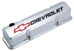 Chrome Die-Cast Aluminum Slant-Edge Valve Covers w/ Recessed Emblems for Chevy small-block engines.