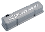 Cast Gray Crinkle Die-Cast Aluminum Slant-Edge Valve Covers w/ Raised Emblems for Chevy small-block engines