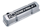Polished Die-Cast Aluminum Slant-Edge Valve Covers w/ Raised Emblems for Chevy small-block