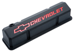 Black Crinkle Die-Cast Aluminum Slant-Edge Valve Covers w/ Recessed Emblems for Chevy small-block engines.