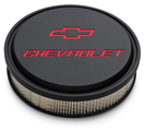 Chevrolet Slant-Edge Aluminum Air Cleaner, Black Crinkle, Recessed Emblems