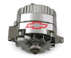 70 Amp, 100% New Chrome Alternator with Chevy Bowtie Emblem. Fits GM '73-86 with Internal Regulator.