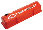Chevy® Orange Die-Cast Aluminum Slant-Edge Valve Covers