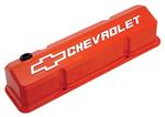 Chevy® Orange Die-Cast Aluminum Slant-Edge Valve Covers