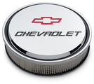 Chevrolet Slant-Edge Aluminum Air Cleaner, Chrome, Recessed Emblems