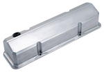 Polished Slant-Edge Valve Covers for Chevy small-block engines. No Emblem.