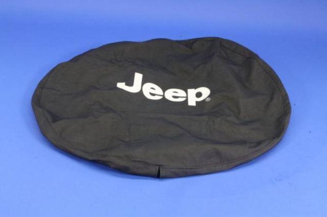 Spare Tire Cover, Cloth, White Jeep Logo