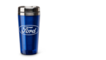 Stainless liner, plastic outer, double-wall insulation, and thumb-slide lid. 16 oz. Screened Ford Oval. Blue.