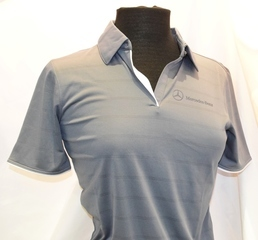 LADIES' GREY TEXTURED STRIPED SHIRT