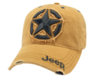 New Jeep ® 3D Star Cap Baseball Hat Cap Embroidered Yellow Distressed Mopar