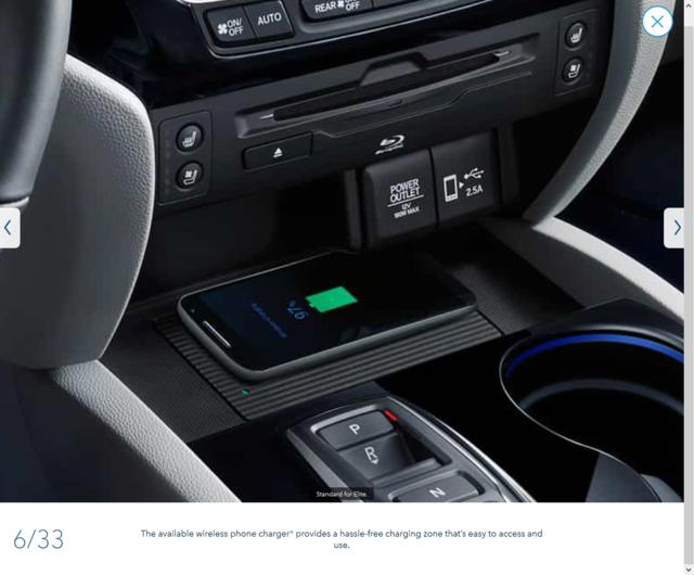 2019 Pilot Wireless Charging system