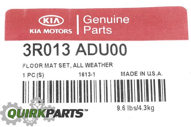 2014 Kia Cadenza All Weather Floor Mats OEM BRAND NEW Genuine Part # 3R013-ADU00