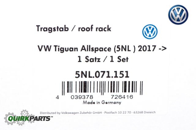 2018-2019 VW Volkswagen Tiguan Roof Rack Base Carrier Cross Bars OEM NEW