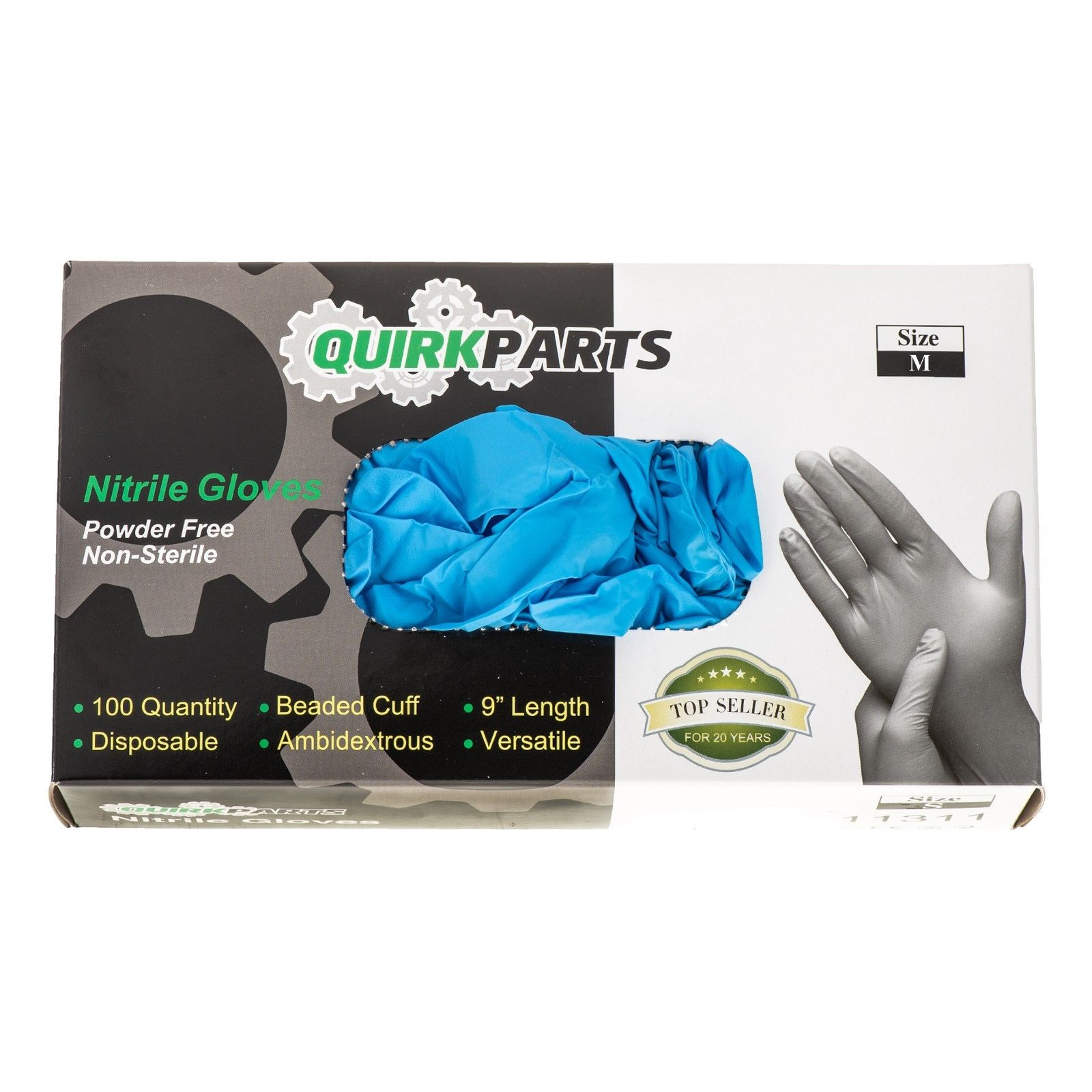 ONE NEW Box Of 100 Blue Nitrile Powder Free Disposable Non-Sterile Medium Gloves