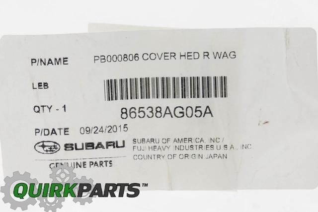 OEM 2005-2018 Subaru Rear Window Wiper Arm Cap Outback Legacy Tribeca 86538AG05A