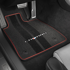 Premium Front & Rear Floor Mats, Black w/ Red