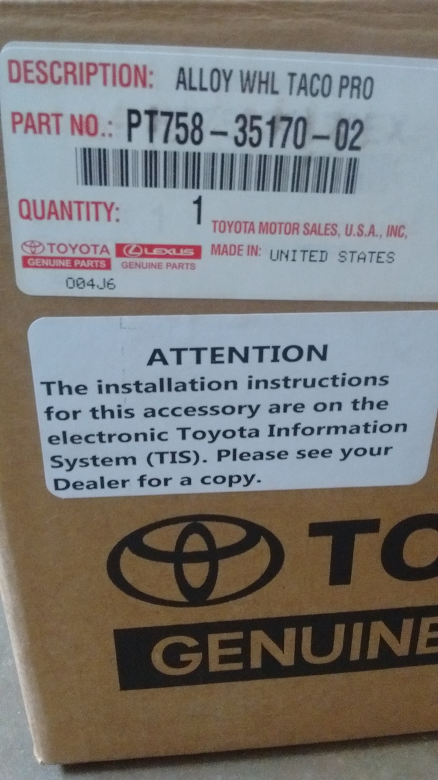 "17+ Tacoma - TRD Pro 16"" Wheels(gloss black, 6 on 139.7mm w/ 13mm offset)"