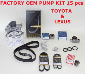 Genuine Factory Timing Belt Kit with OEM Aisin Water Pump for 1MZFE and 3MZFE Engine