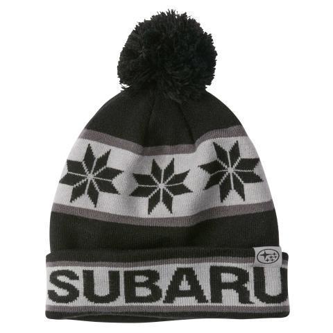 Subaru Black and Gray Pom Beanie