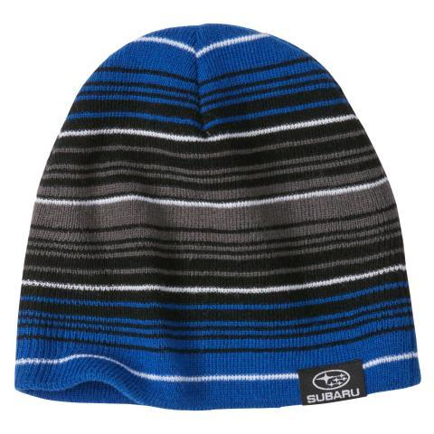 Subaru Black and Blue Striped Beanie