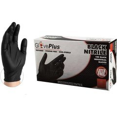 GLOVE PLUS BLACK NITRILE POWDER FREE TEXTURED (BOX OF 100)