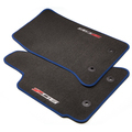 Front Premium Carpet with Z06 Logo, Black with Blue Stitching
