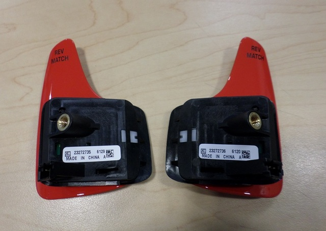 RED MANUAL TRANS PADDLE REV MATCH SWITCH PAIR  (RIGHT & LEFT) - GM (23272735 & 23272736)